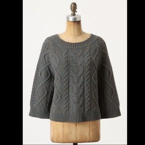anthropologie Teal Brown Chunky ButtonBack Sweater
